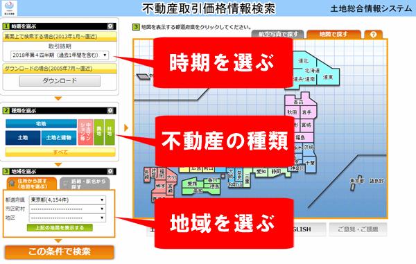土地情報システム検索条件設定